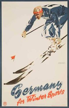 Germany For Winter Sports vintage Ski Poster Date- ca 1930s