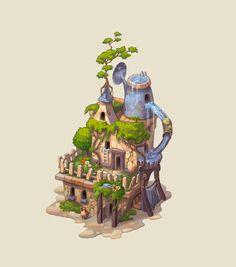 Gardenhouse, Elena Viskova on ArtStation at… Bg Design, Prop Design, Game Design, Landscape Concept, Fantasy Landscape, Fantasy Art, Environment Concept Art, Environment Design, 2d Game Art