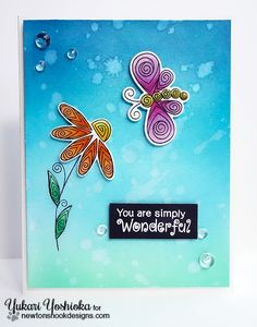 Ombré card by Yukari Yoshioka   Beautiful Blossoms & Beautiful Wings stamp sets by Newton's Nook Designs #newtonsnook