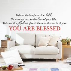 You Are Blessed Quote Vinyl Wall Decal Sticker Home and Love Quote