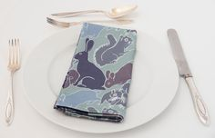 Set of four cotton napkins with a rabbit squirrel and hare design (35.00 GBP) by TheAnimalsOf