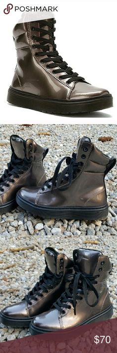 Dr Marten Gunmetal Boots Only worn 2 times literally. Perfect condition These fit like a woman's 5.5/6 Dr. Martens Shoes Lace Up Boots