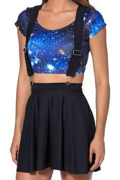 Matte Pinafore Pocket Skater Skirt by Black Milk Clothing
