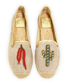 Santa Fe Linen Espadrille Flat, Natural/Gold by Tory Burch at Neiman Marcus.
