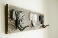 Elephant Decor, trio wall decor for hanging light jackets scarves or jewelry great kitchen decor bedroom decor entryway decor by PineknobsAndCrickets on Etsy https://www.etsy.com/listing/174311553/elephant-decor-trio-wall-decor-for