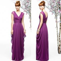 Purple Chiffon A-Line Deep V-neck Long Bridesmaid Dress