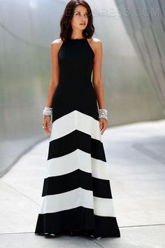 Ericdress Popular Black And White Striped Maxi Dress Maximum Style