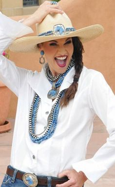 Rocki Gorman jewelry - love the whole outfit, including the hatband. Maybe leave out the crazy woman smile, though lol