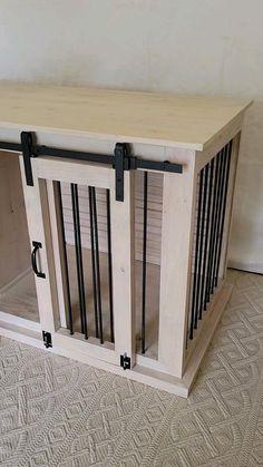 Diy Furniture Dog Crate, Diy Dog Crate, Farmhouse Style Furniture, Wooden Dog Crate, Diy Dog Kennel, Dog Kennels, Double Dog Crate, Dog Toy Box, Dog House Plans