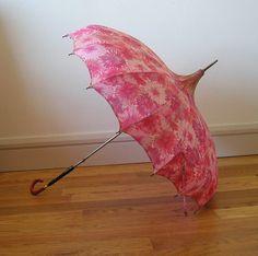Vintage Pagoda Umbrella w/ Lucite Handle 1960s 50s by Archivia