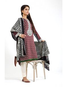 Shop Maroon/White Embroidered Linen Salwar Kameez by Nishatlinen Textiles Cloth Collection