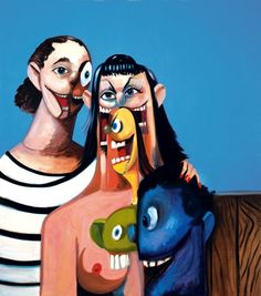http://www.boumbang.com/condo-george/ © George Condo, Outdoor family, huile sur toile 215,9x190,5 cm 2008
