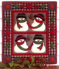 KIT SNOW FRIENDS Mini Wall Hanging Quilt by DorothyPrudieFabrics