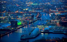 Glasgow Clydeside at Night looking to the East