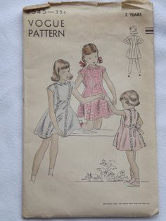 Vintage 1949 Vogue Sewing Pattern For Girl's by ThatsSewTimeless, $8.00