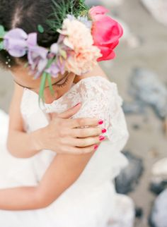 Flower crown with a pink peony | Les Amis Photo | see more on: http://burnettsboards.com/2014/09/bridal-session-italian-riviera/