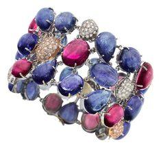 Tanzanite, Pink Sapphire, Diamond, Gold Bracelet
