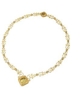 Pompeii Gold Swirl & Lemon Quartz Tilted Square Pendant Necklace by DeLatori at Gilt