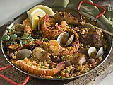 Paella with Seafood, Chicken, and Chorizo