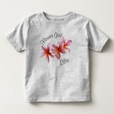 Pink Plumeria Frangipani Flower Girl Name Toddler T-shirt - tap to personalize and get yours