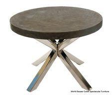 Mesa de comedor redonda acero mesas de comedor modernas for Mesa comedor hormigon
