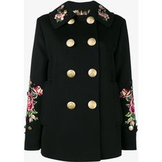 Dolce & Gabbana rose embroidered military coat ($5,320) ❤ liked on Polyvore featuring outerwear, coats, black, rose coat, collar coat, field coat, multi colored coat and double breasted military coat