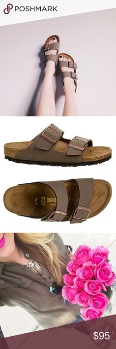 BIRKENSTOCK Arizona Stone Taupe Birkibuc Sandal 38 The Arizona Sandals by Birkenstock are the epitome of comfort! Feature a double-strap design with adjustable rose gold buckles. The moldable footbed hasn't fully been imprinted, so there's still room for it to conform to the shape of your foot. The cork is 100% attached to the sole and in excellent condition. Only marks are the footbed imprint and where the buckles sit on the leather (unseen in current adjustment). Size 38, fits 8/8.5 US…