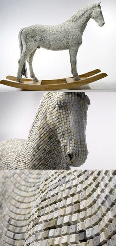 Funny pictures about Trojan horse made from computer keys. Oh, and cool pics about Trojan horse made from computer keys. Also, Trojan horse made from computer keys photos. Land Art, 3d Mode, Trojan Horse, Creation Art, 3d Fantasy, Horse Sculpture, Equine Art, Recycled Art, Horse Art