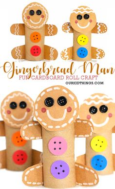 Cardboard Roll Gingerbread Man Craft - Holiday wreaths christmas,Holiday crafts for kids to make,Holiday cookies christmas, Baby Christmas Crafts, Preschool Christmas, Christmas Activities, Kids Christmas, Holiday Crafts, Italian Christmas, Christmas Ornament, Cardboard Rolls, Cardboard Crafts