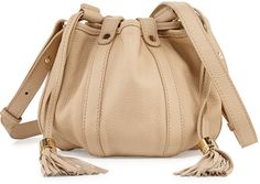 See by Chloe Small Leather Drawstring Bucket Bag, Sand Shell