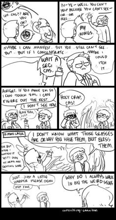 """Consulting-cannibal - artist notes: """"You guys remember THE MAGICAL GLASSES THAT WERE TOTALLY NERDY BUT COULD SEE HELL HOUNDS!? (8x14 Trial And Error) ever since the episode i always have brief flashes of WHAT IF THEY BROUGHT THOSE BACK and i always hope it's around an angel"""" - Dean and Sam and Castiel"""