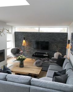 Apartment decorating living room cozy fireplaces 66 ideas for 2019 Cozy Living Rooms, Living Room Grey, Living Room Interior, Home Living Room, Apartment Living, Living Room Designs, Living Room Decor, Cozy House, Family Room