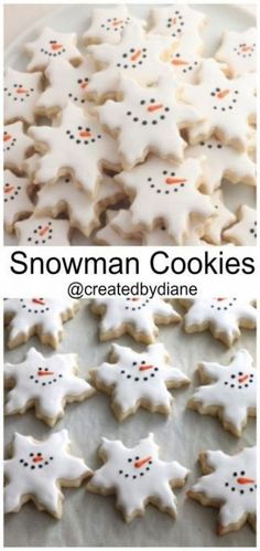 Snowman Snowflake Cookies Created by Diane christmas baking day Christmas Cookie Exchange, Christmas Sugar Cookies, Christmas Sweets, Christmas Cooking, Holiday Cookies, Holiday Desserts, Holiday Baking, Holiday Treats, Holiday Recipes