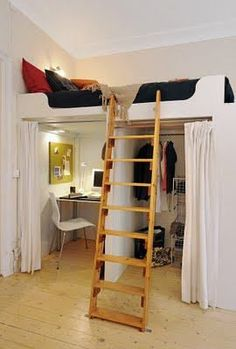 Creative idea for small places... or maybe a teenager bedroom.  I love the dressing room idea.