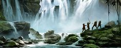 Landscape Concept, Anonymous, Drawing Ideas, Concept Art, Waterfall, Environment, Sky, Deviantart, Fantasy