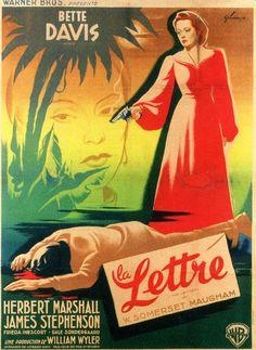 """Bette Davis in """"The Letter,"""" 1940: Belgian poster."""