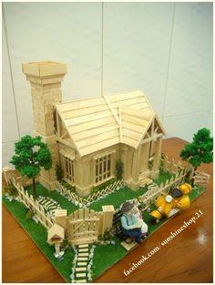 Mô Hình Nhà tăm tre, nhà que kem handmade | Thủ công mỹ nghệ - Touch Version