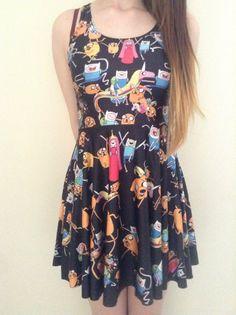 Black adventure time finn, jake, lsp and princess bubblegum dress alternative cartoon network clothing on Etsy, $22.84