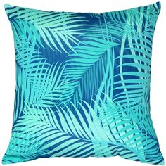 Turquoise Palm Throw Pillow 20x20