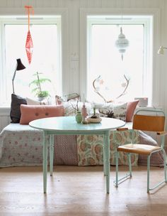 What if I painted my dining room table & chairs mint, with blk/wht polka dot seat cushions?