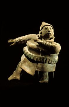 'Figurine of a ballplayer' (Maya, Late Classic, 600-900 A.D.). Jaina island, State of Campeche. Clay with vestiges of white and blue pigments, 11.9 cm. collection: National Museum of Anthropology, Mexico. Photographed by Jorge Pérez de Lara. via mesoweb
