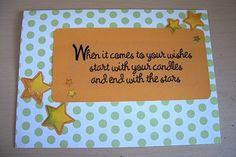 Birthday card, sentiment, stars, yellow, polka dots