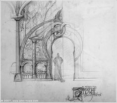 Looking for drawing, set designs, or photos from Rivendell and Rohan from Lord of the Rings trilogy. The work is exquisite and incredibly organic. Might inspire your work Ian?