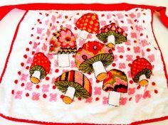 Vintage 1970s Terry Cloth Mushroom Apron Pink by NonabelleVintage, $12.00