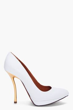 988556927adba Lanvin  White Escarpin Pumps With Gold Stiletto Heel