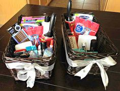 Bathroom hospitality baskets are perfect for a wedding! Great idea!
