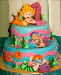 Bubble Guppies Cake for a special little girl's 1st birthday! :) Very Cute Cake... Love this!