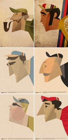 Faces by Italian artist Riccardo Guasco in a loose and blocky vintage style.
