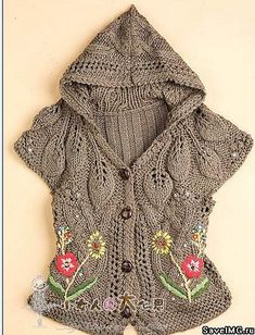 Free pattern! Ravelry: vest with hood and embroidery pattern by Bianzhirensheng