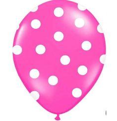 Ballon de baudruche pois rose Fuschia pour Anniversaire, Bapteme, Baby Shower